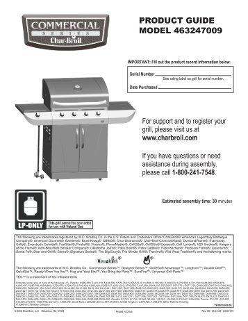 PRODUCT GUIDE MODEL 463247009 - Char-Broil Grills