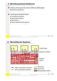 4.1 Monolithische Systeme 4 Betriebssystemarchitekturen - CS 4