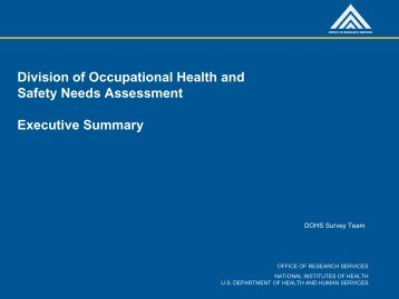 Division of Occupational Health and Safety Needs Assessment