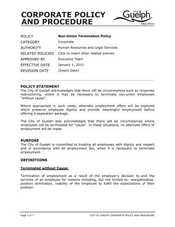 Employee Record Termination Policy Policy Statement