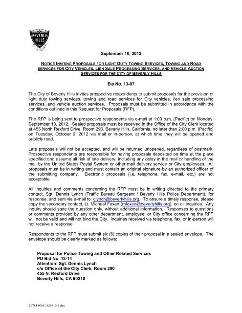 Request For Proposal And Sample Agreement City Of Beverly