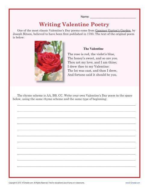 writing valentine 39 s day poetry worksheet for middle school. Black Bedroom Furniture Sets. Home Design Ideas