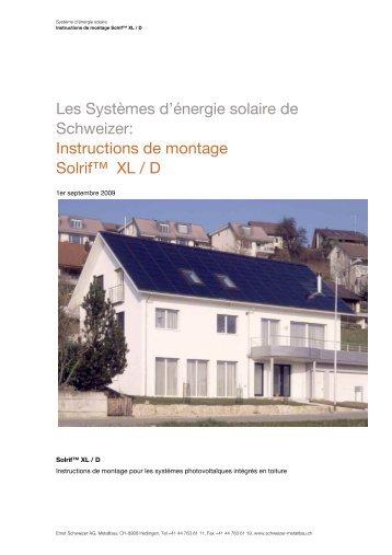 Instructions de montage Solrif» XL / D - Schweizer Metallbau