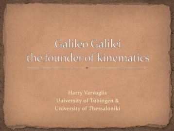 Kinematics - Galileo