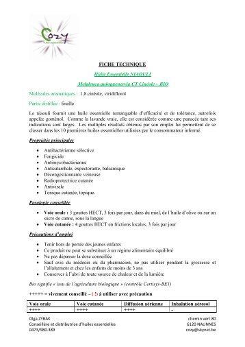 FICHE TECHNIQUE Huile Essentielle NIAOULI ... - COZY Belgique