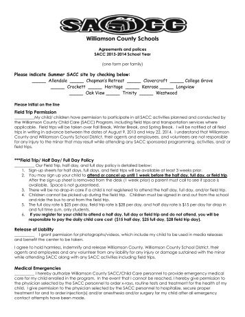 Agreements and Policies - Williamson County Schools