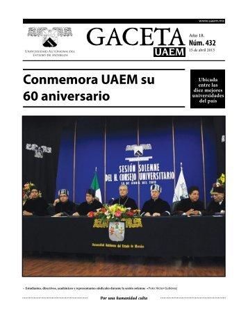Gaceta UAEM No. 432 - Universidad Autónoma del Estado de Morelos