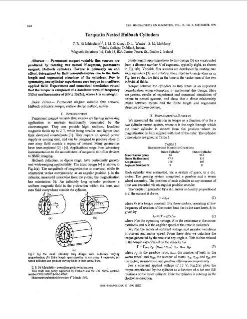 Torque in nested Halbach cylinders - Magnetics, IEEE