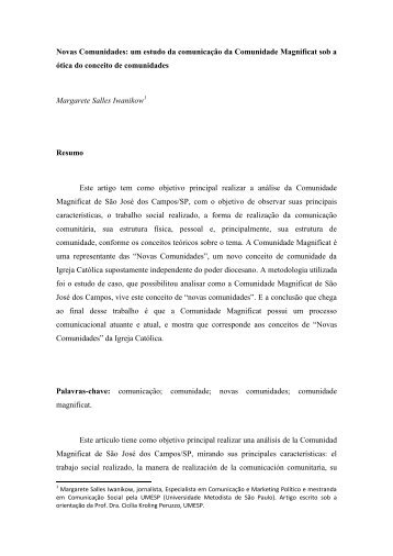 Novas Comunidades: um estudo da comunicação da Comunidade ...