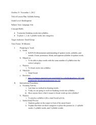 October 31- November 1, 2012 Title of Lesson Plan: Syllable Sorting ...