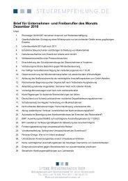 Brief für Unternehmer- und Freiberufler des Monats Dezember 2010