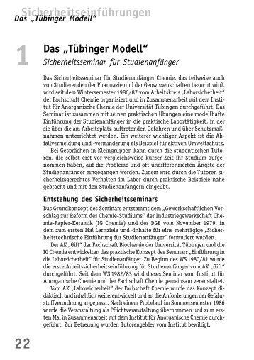 """Das """"Tübinger Modell"""" - BuFaTa Chemie"""