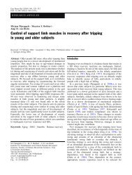 Control of support limb muscles in recovery after tripping in young ...