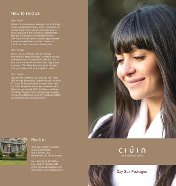 Ciuin Spa Day Packages - Slieve Russell Hotel