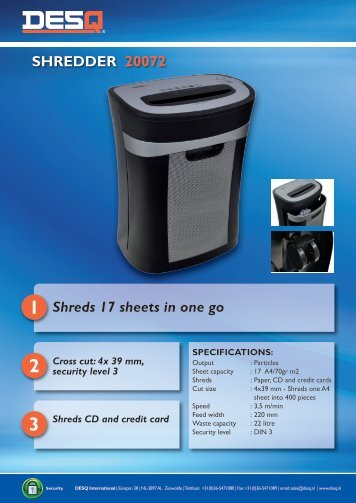 SHREDDER 20072 1 Shreds 17 sheets in one go - DESQ ...