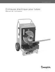 Cintreuse électrique pour tubes, Manuel de l'utilisateur ... - Swagelok