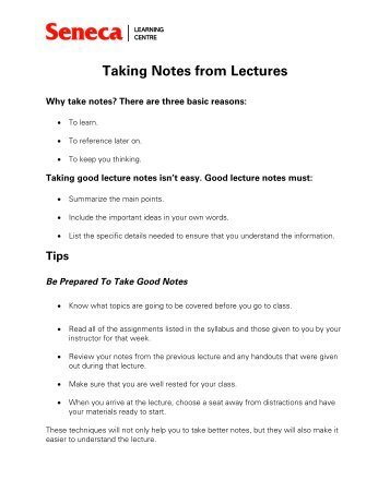 Taking Notes from Lectures - Seneca College