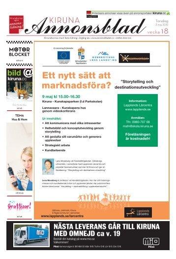 Kiruna Annonsblad vecka 18, torsdag 3 maj 2012 sidan 1