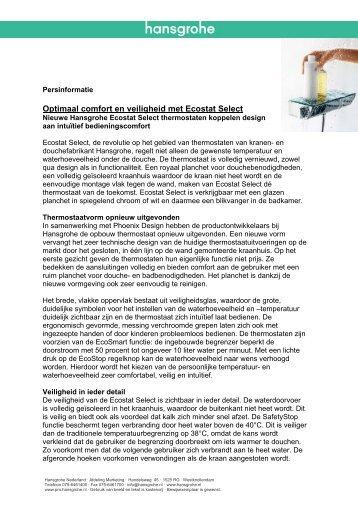 Persbericht voor de Vakpers - Hansgrohe