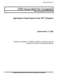 Agricultural Trade Issues in the 107th Congress [updated March 13 ...