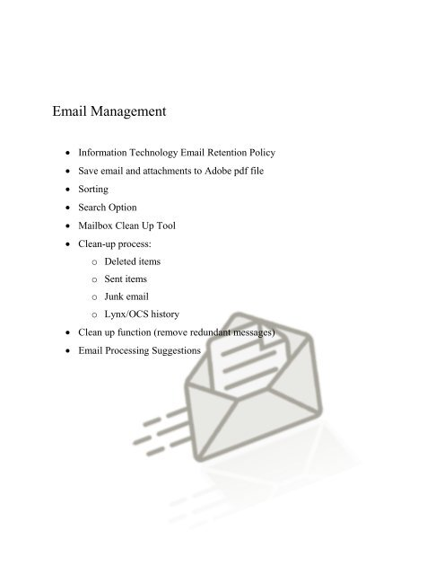 Email Management Workshop Handout