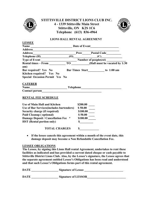 Hall Rental Agreement Stittsville District Lions Club