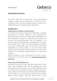 Nachhaltigkeit bei Gebeco Rückblick 2013