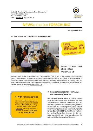 Newsletter Feber 12 - Home, Pädagogische Hochschule Steiermark