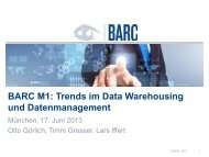 BARC-Track: Trends im Data Warehousing und ... - SIGS DATACOM
