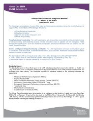 Central East Local Health Integration Network CEO Report to the ...