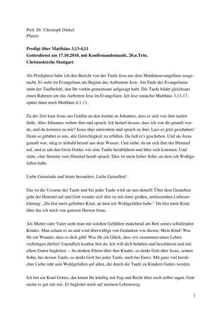 Dinkel Predigt Mat 313 411 Konfitaufe