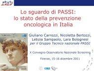 lo stato della prevenzione oncologica in Italia - Osservatorio ...