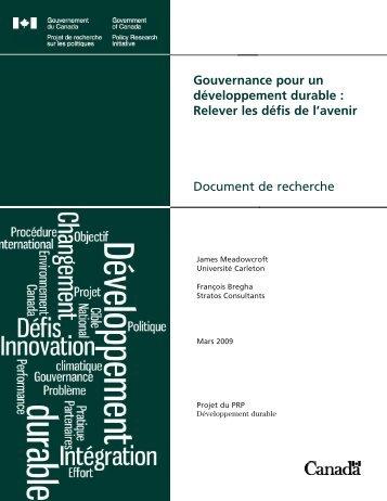 Gouvernance pour un développement durable - Horizons de ...