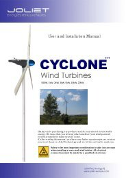 User and Installation Manual - Cyclone wind turbines