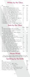 Whites by the Glass Reds by the Glass House Wines Sparkling by ...