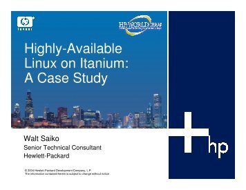 Highly Available Linux on Itanium: A Case Study of How ... - OpenMPE