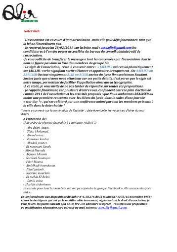 Association des anciens éleces du lycée ISR - Petit Fichier
