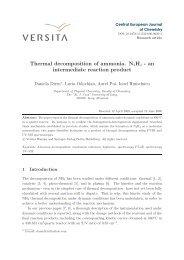 Thermal decomposition of ammonia. N2H4 - an ... - Kintecus
