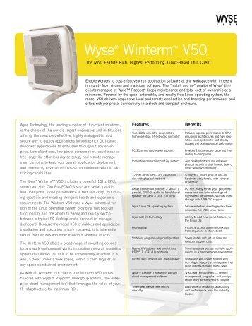Wyse V50 Datasheet - Wyse Outlet Store