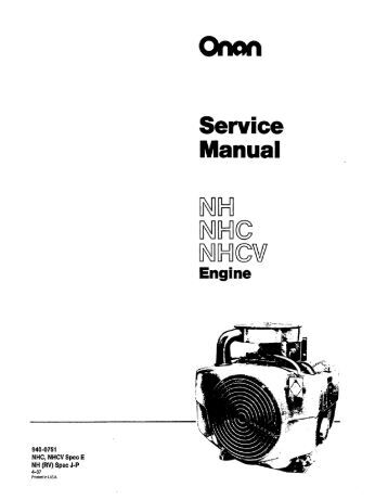 Onan carburetor Service Manual