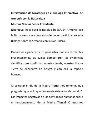 Intervención de Nicaragua en el Dialogo Interactivo de Armonía con ...