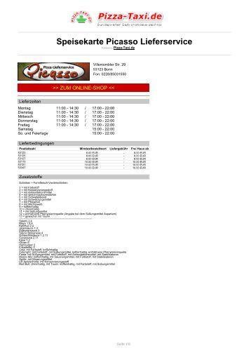 Picasso Lieferservice in 53123 Bonn, Villemombler Str. 29 - Pizza Taxi
