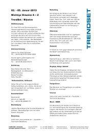 03. - 05. Januar 2013 Wichtige Hinweise A -- Z TrendSet / Bijoutex