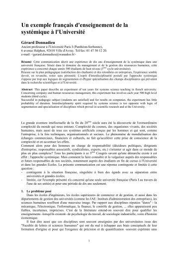 Un exemple français d'enseignement de la systémique à l ... - Afscet