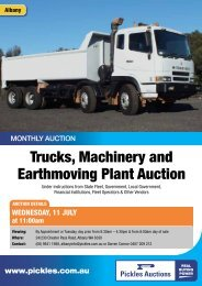 Trucks, Machinery and Earthmoving Plant Auction - Pickles Auctions