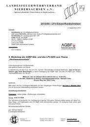 5. Workshop der AGBF Nds. und des LFV-NDS zum Thema
