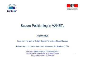 Secure Positioning in VANETs - Sevecom