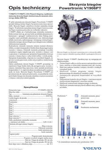 Skrzynia biegów Powertronic V1906PT Opis techniczny - Volvo