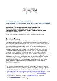 Analyse des Steuerabkommens Deutschland - Schweiz