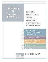 literary & cultural studies - University of Georgia Press